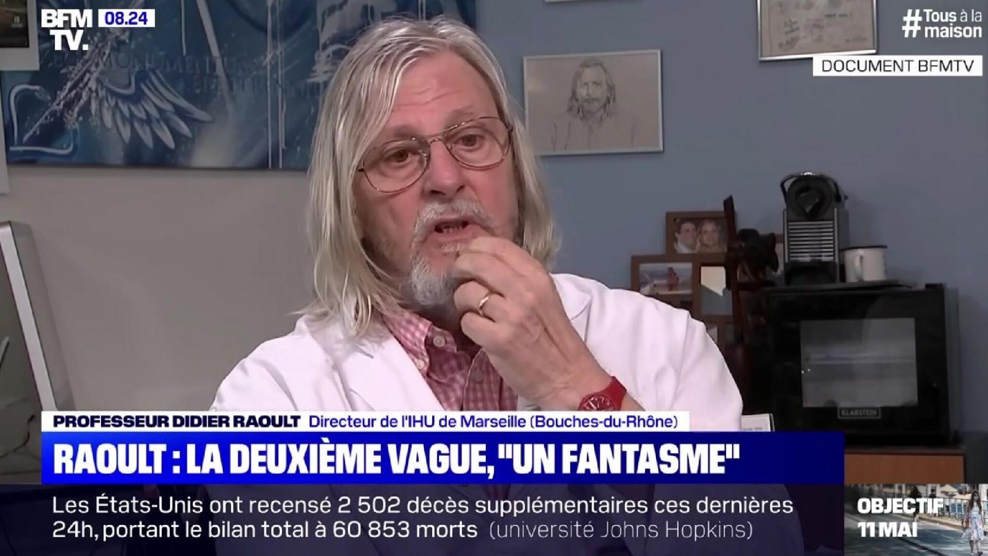 Didier raoult les internautes choques par son absence de gestes barrieres sur bfm tv